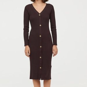 H&M ribbed brown sweater dress v neck buttons lg
